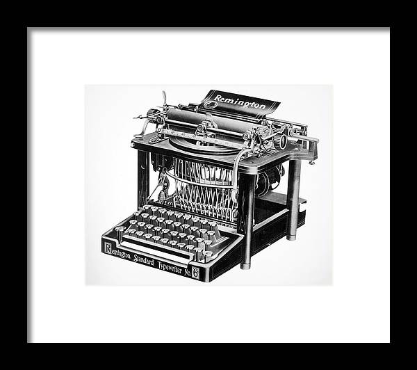 1890 Framed Print featuring the painting Remington Typewriter by Granger
