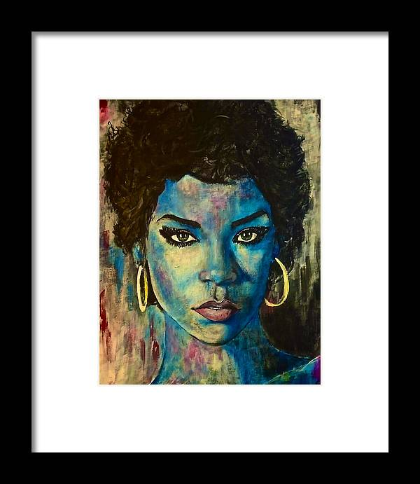 Portrait Framed Print featuring the painting Rihanna by Christopher Brown