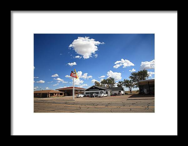 66 Framed Print featuring the photograph Route 66 - Midpoint Cafe Adrian Texas by Frank Romeo