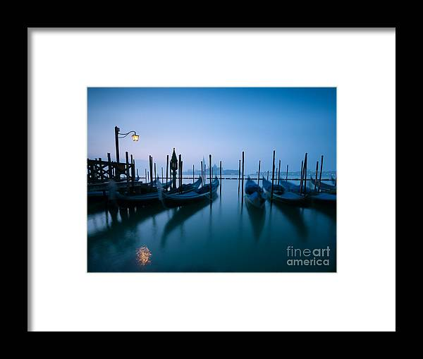 Church Framed Print featuring the photograph Row Of Gondolas At Sunrise Venice Italy by Matteo Colombo