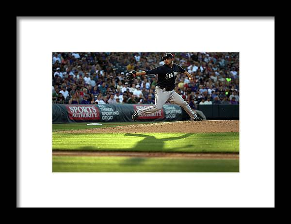 People Framed Print featuring the photograph Seattle Mariners V Colorado Rockies by Doug Pensinger