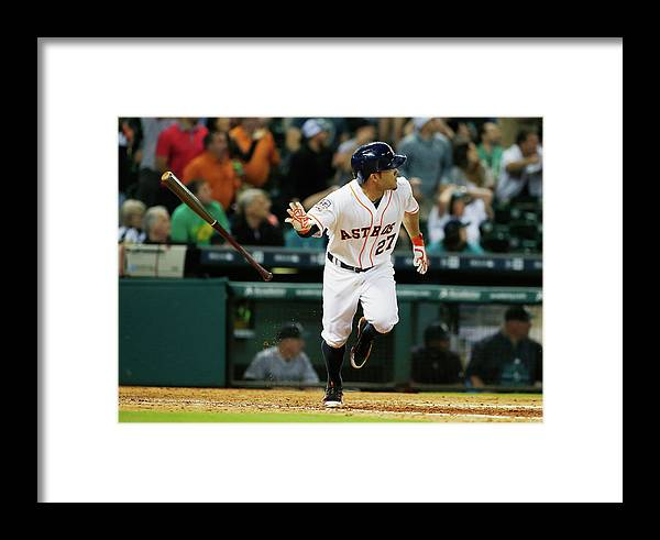 People Framed Print featuring the photograph Seattle Mariners V Houston Astros by Scott Halleran