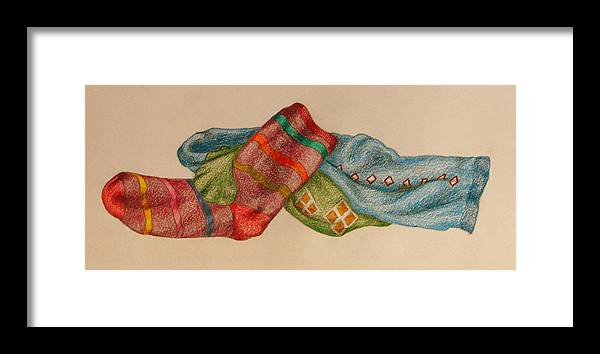 Drawing Framed Print featuring the drawing Socks 1 by Lew Davis