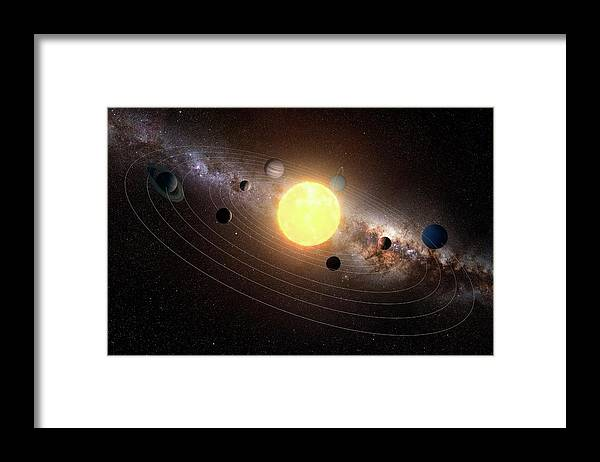 Black Background Framed Print featuring the digital art Solar System, Artwork by Sciepro