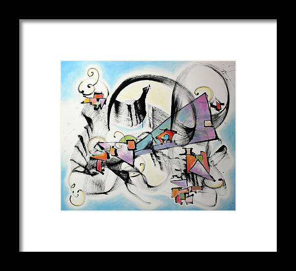 Abstract Painting Framed Print featuring the painting Song In Blue by Asha Carolyn Young