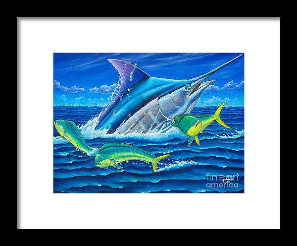 Marlin Framed Print featuring the painting South Side Blue by Johnny Widmer
