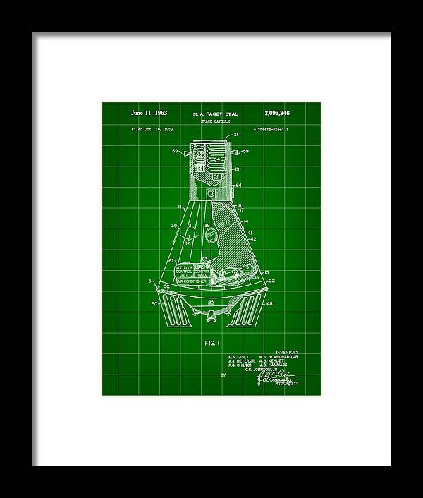 Space Framed Print featuring the digital art Space Capsule Patent 1959 - Green by Stephen Younts