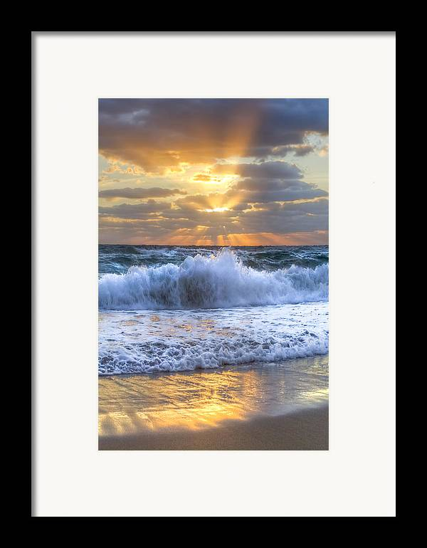 Boats Framed Print featuring the photograph Splash Sunrise by Debra and Dave Vanderlaan