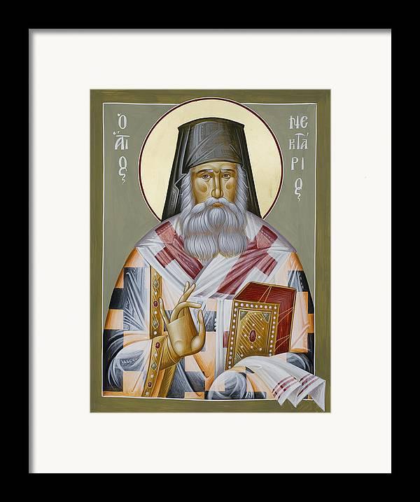 St Nektarios Of Aegina Framed Print featuring the painting St Nektarios Of Aegina by Julia Bridget Hayes