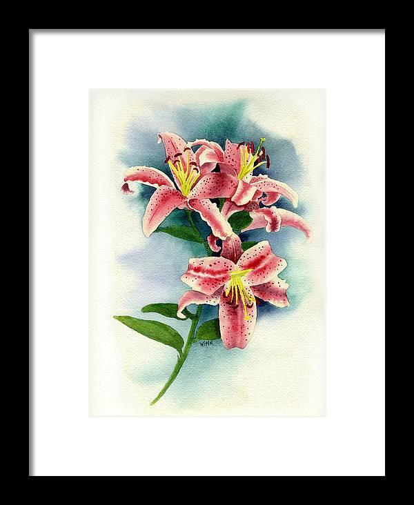 90fd9cff035 Watercolor Floral Framed Print featuring the painting Stargazer Lilies by  Brett Winn