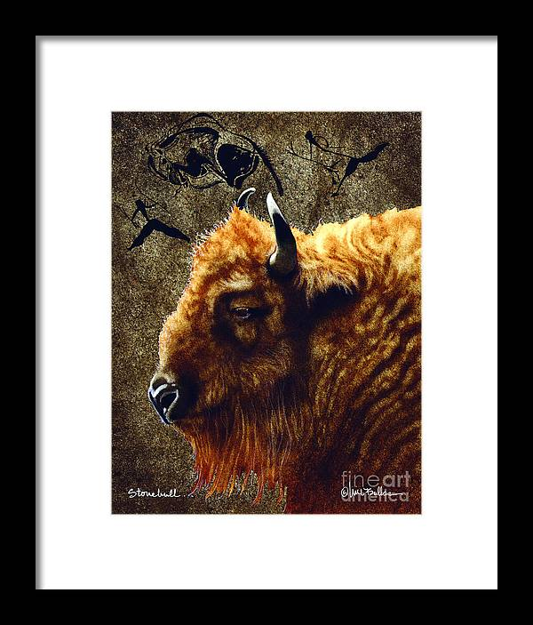 Will Bullas Framed Print featuring the painting Stonebull by Will Bullas