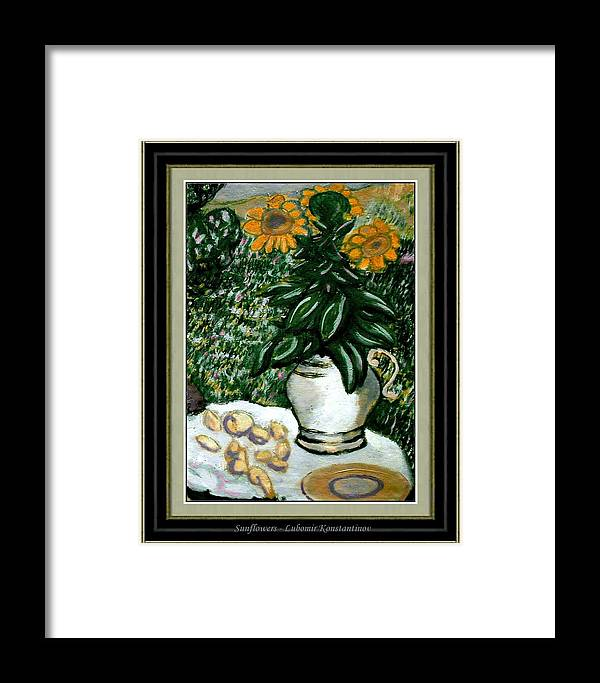 Modern Painting Framed Print featuring the painting Sunflowers by Lubomir Konstantinov