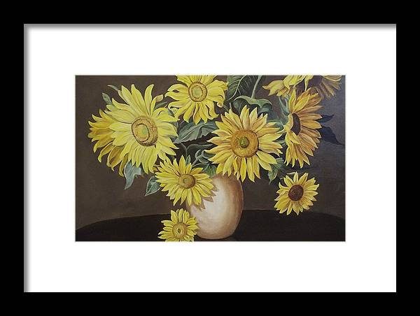 Flowers Framed Print featuring the painting Sunshine And Sunflowers by Wanda Dansereau