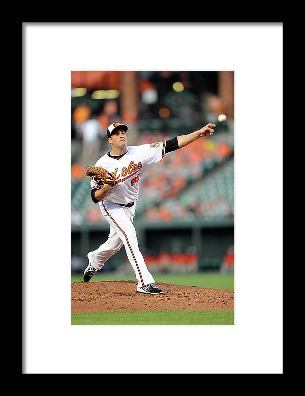 T.j. Mcfarland Framed Print featuring the photograph Texas Rangers V Baltimore Orioles by Greg Fiume