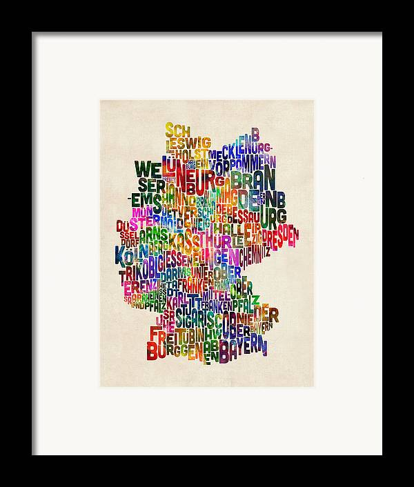 Text Map Framed Print featuring the digital art Text Map Of Germany Map by Michael Tompsett