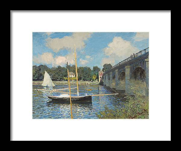 Claude Monet Framed Print featuring the painting The Bridge At Argenteuil by Claude Monet