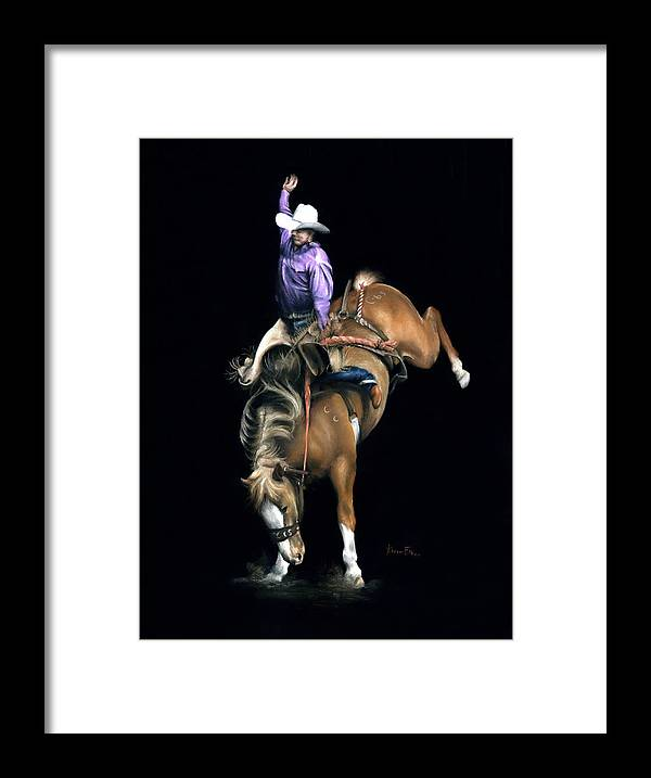 Rodeo Framed Print featuring the pastel The Bronc by Karen Elkan