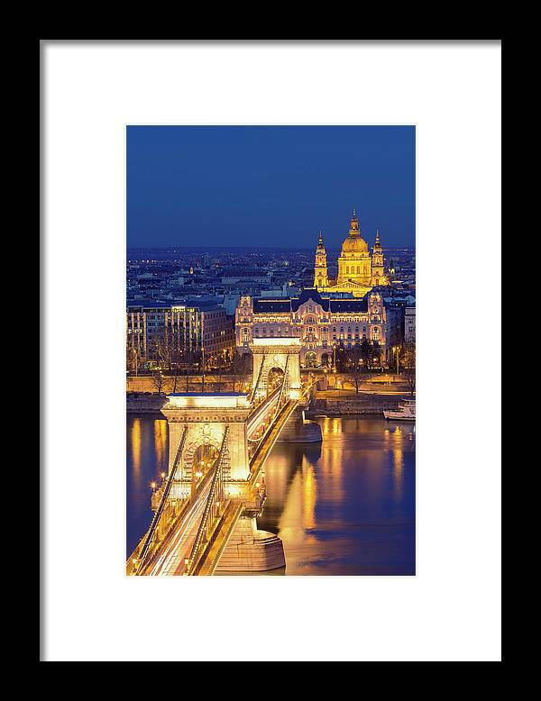 Viewpoint Framed Print featuring the photograph The Chain Bridge In Budapest by Ultraforma
