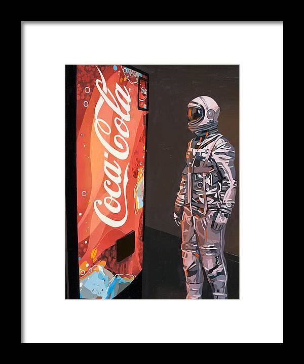 Astronaut Framed Print featuring the painting The Coke Machine by Scott Listfield