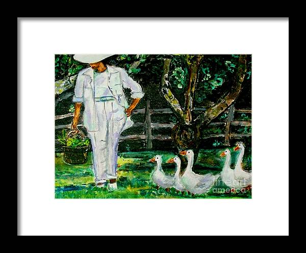 Acrylic Framed Print featuring the painting The Five Ducks by Helena Bebirian