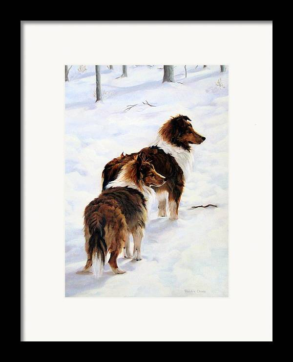 Dog Framed Print featuring the painting The Little Sentinels by Sandra Chase