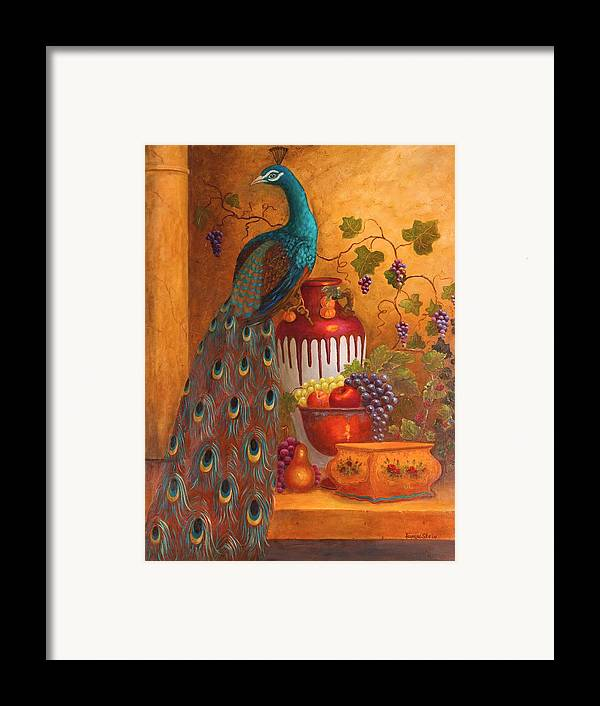 Still Life Framed Print featuring the painting The Peacock by Jeanene Stein
