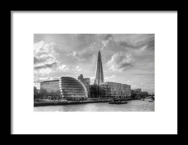 The Shard Framed Print featuring the photograph The Shard and City Hall by Chris Day
