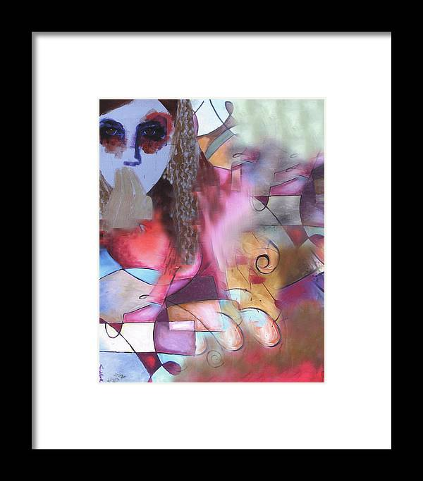 Acrylic On Canvas Framed Print featuring the painting The Stare by Sid Katragadda