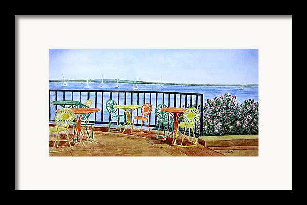 Watercolor Framed Print featuring the painting The Terrace View by Thomas Kuchenbecker