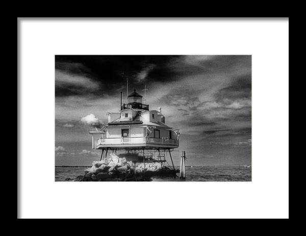 Md Framed Print featuring the photograph THOMAS POINT SHOAL LIGHTHOUSE Black and white by Skip Willits