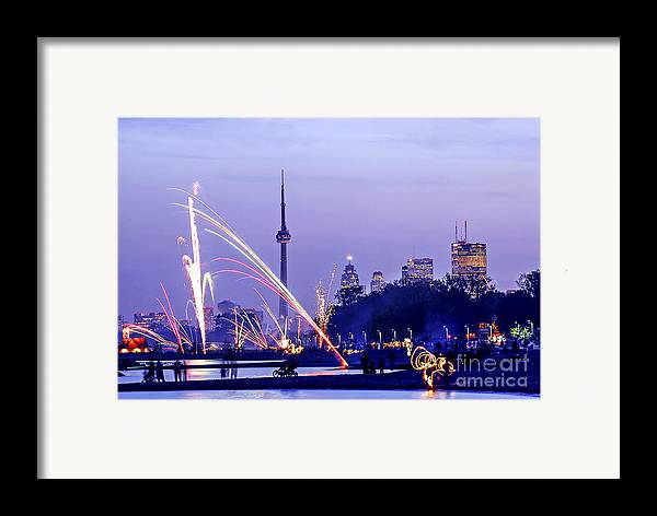 Toronto Framed Print featuring the photograph Toronto Fireworks by Elena Elisseeva