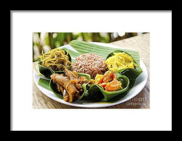 Asia Framed Print featuring the photograph Traditional Vegetarian Curry With Rice In Bali Indonesia by Jacek Malipan