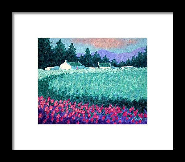 Acrylic Framed Print featuring the painting Turquoise Meadow by John Nolan