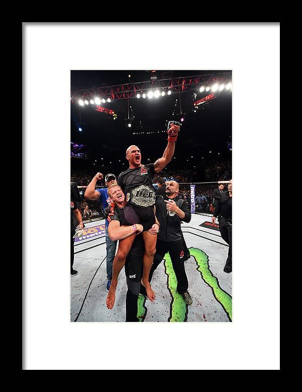 Event Framed Print featuring the photograph Ufc 189 Lawler V Macdonald by Josh Hedges/zuffa Llc