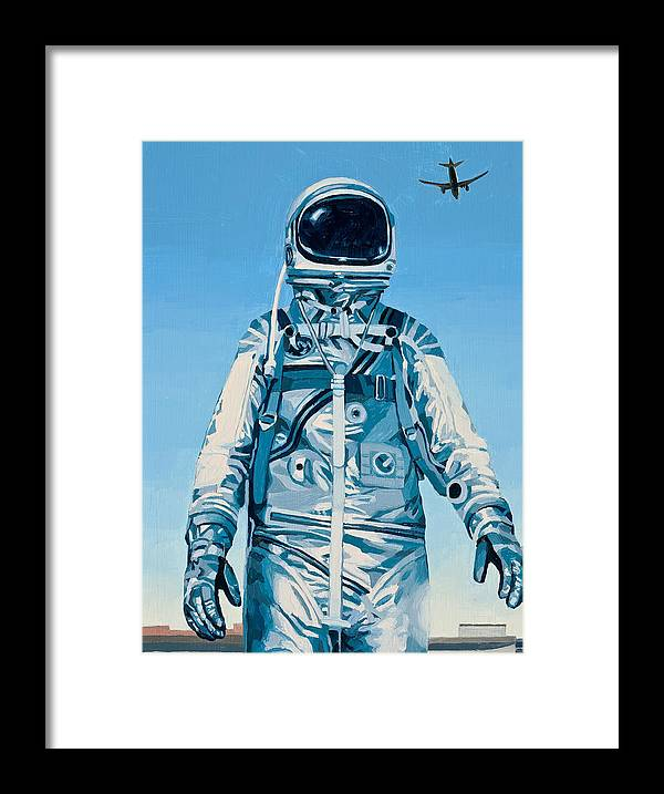 Astronaut Framed Print featuring the painting Under the Flight Path by Scott Listfield