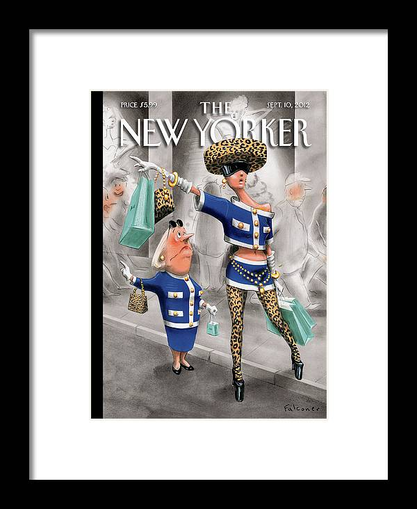 Fashion Framed Print featuring the painting New Yorker September 10th, 2012 by Ian Falconer