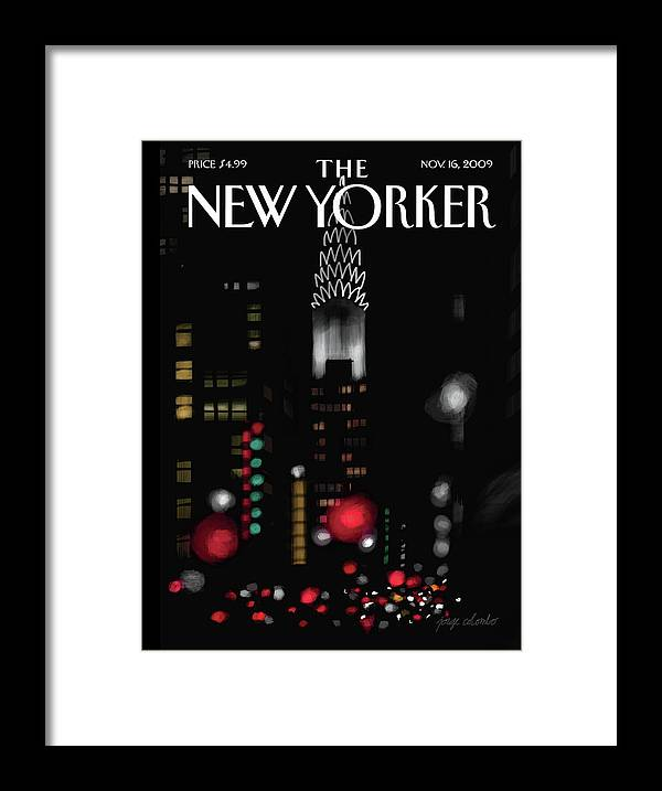 New York Framed Print featuring the painting Night Lights by Jorge Colombo