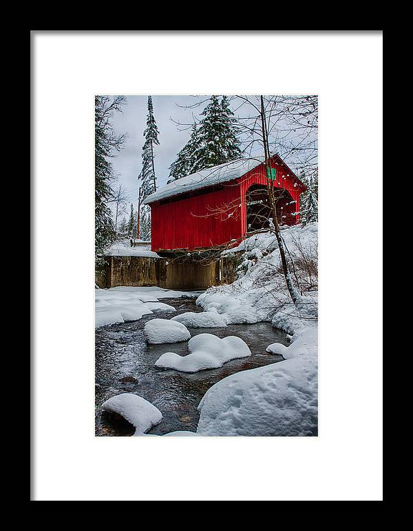 Covered Bridge Framed Print featuring the photograph Vermonts Moseley Covered Bridge by Jeff Folger