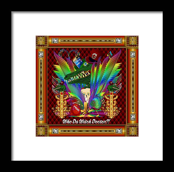 Gris-gris Framed Print featuring the digital art Vive Le Roi Gator Vector Sample by Bill Campitelle