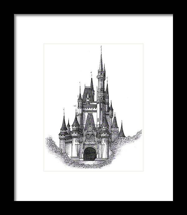 Art Framed Print Featuring The Drawing Walt Disney World Cinderella Castle By Charles Ott