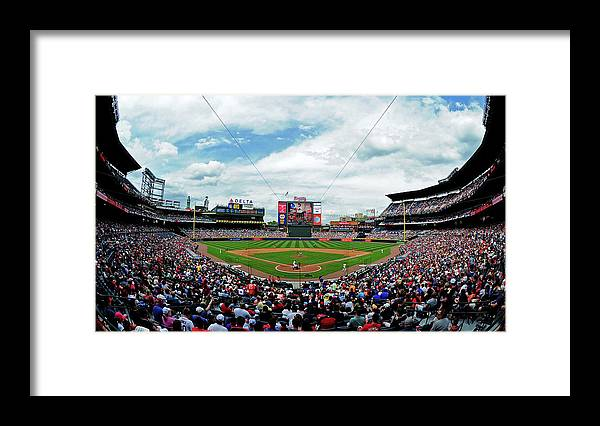 Atlanta Framed Print featuring the photograph Washington Nationals V Atlanta Braves by Scott Cunningham