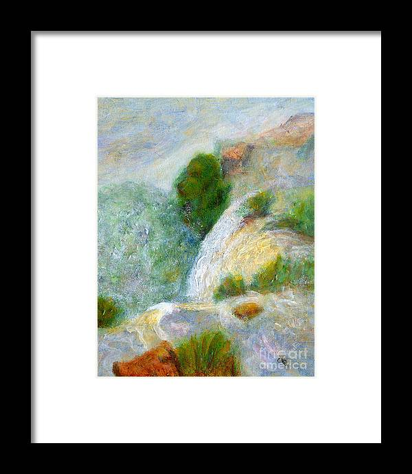 Waterfall Framed Print featuring the painting Waterfall In The Mist by Arlene Babad