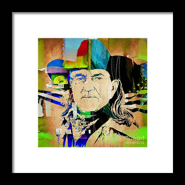 Willie Nelson Framed Print featuring the mixed media Willie Nelson Collection by Marvin Blaine