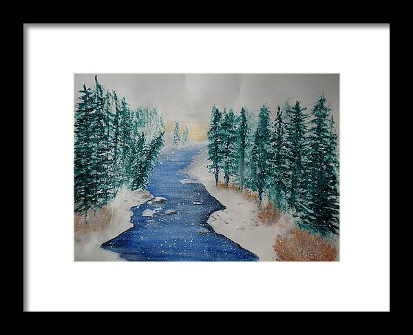 Watercolor Framed Print featuring the painting Winter River Scene by Linda Waidelich