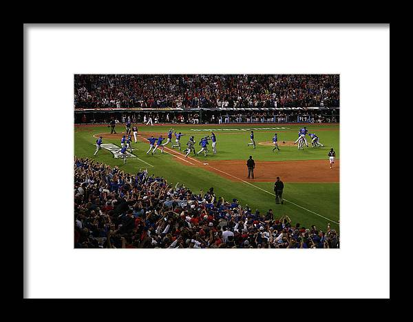 American League Baseball Framed Print featuring the photograph World Series - Chicago Cubs V Cleveland by Ezra Shaw