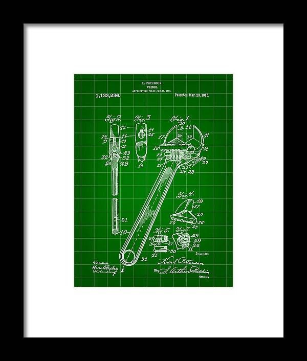 Wrench Framed Print featuring the digital art Wrench Patent 1915 - Green by Stephen Younts