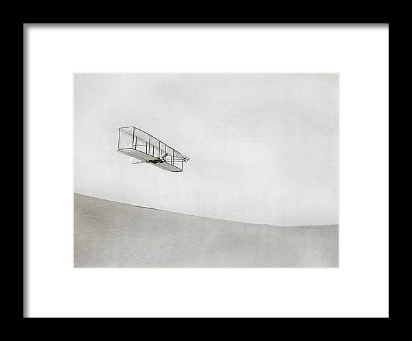 Wilbur Wright Framed Print featuring the photograph Wright Brothers Kitty Hawk Glider by Library Of Congress