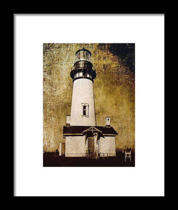 yaquina Lighthouse Framed Print featuring the photograph Yaquina Head Lighthouse - Oregon by Daniel Hagerman