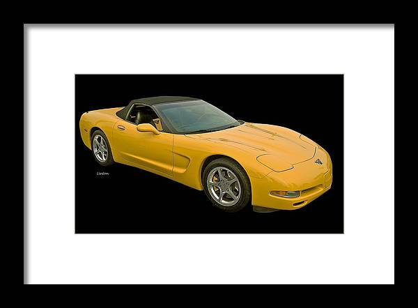 Corvette Framed Print featuring the photograph Yellow Corvette 2 by Larry Linton