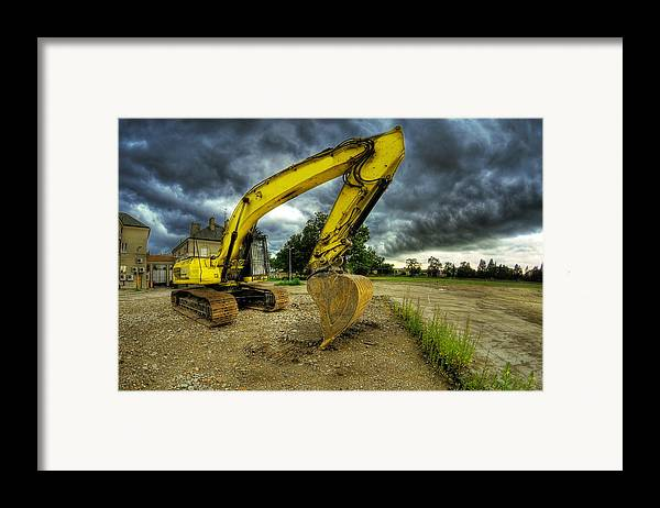 Big Framed Print featuring the photograph Yellow Excavator by Jaroslaw Grudzinski